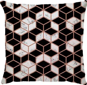 Capa de Almofada  Marble Cubo Preto