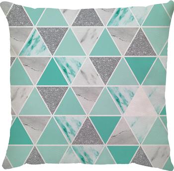 Capa de Almofada Triângulos Prata Azul Turquesa 45x45