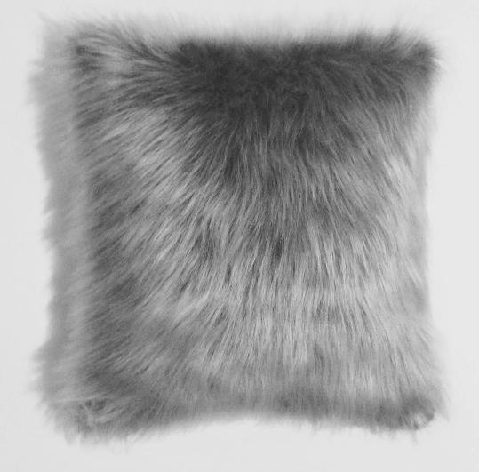 Capa de Almofada Pelo Sintético Cinza