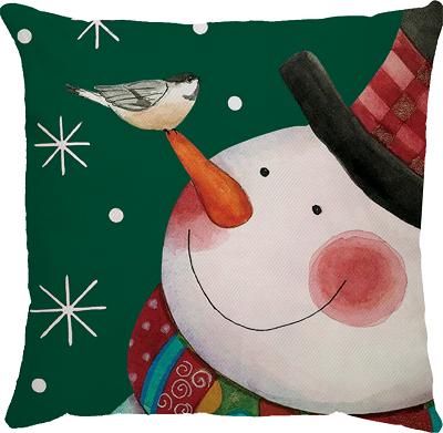Capa de Amofada Natal Boneco de Neve