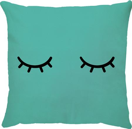 Capa de Almofada Cílios Azul Turquesa 45x45