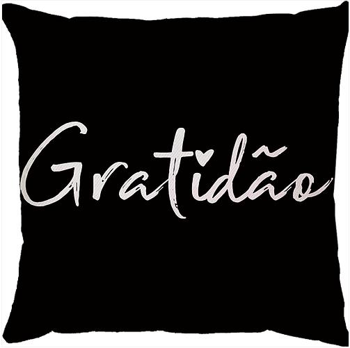 Capa de Almofada Gratidão Preto