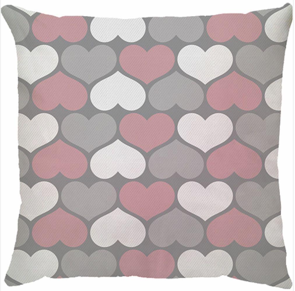 Capa de Almofada Coração Rosa Cinza
