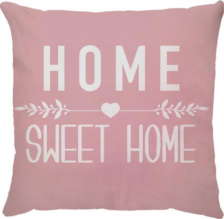 Capa de Almofada Frase Home Sweet Home Fundo Rosa 45x45