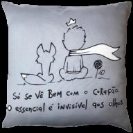 Capa de Almofada Pequeno Príncipe Cinza