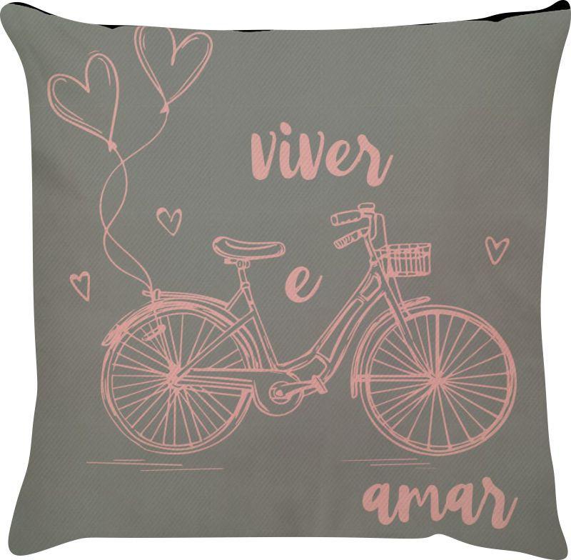 Capa de Almofada Bicicleta Frase Viver e Amar Rosa