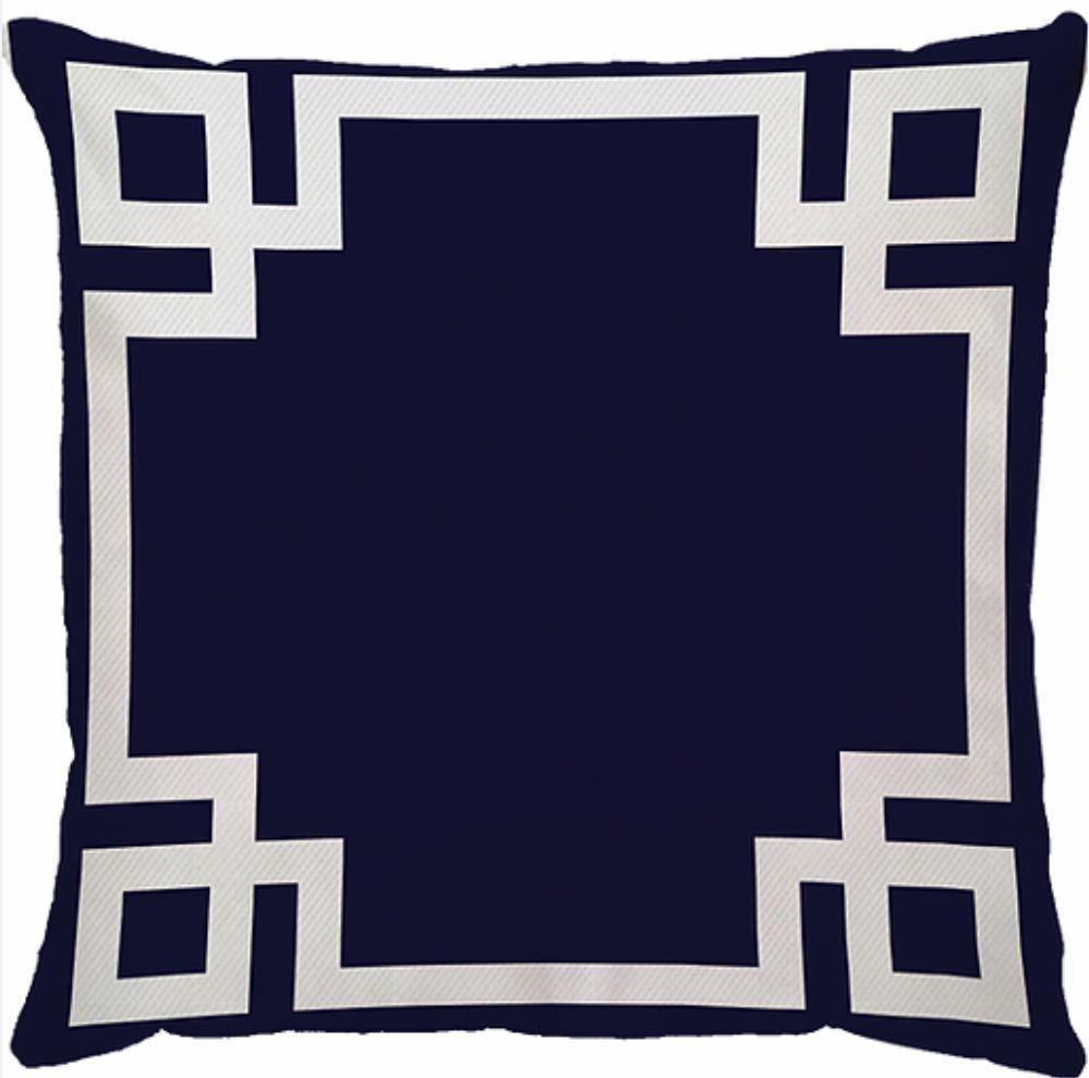 Capa de Almofada Frame Azul Marinho Branco 45x45