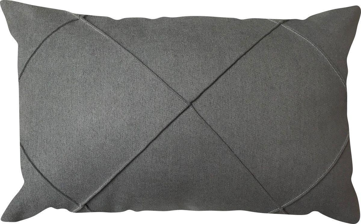 Capa de Almofada Retangular Drapeada Veludo Cinza