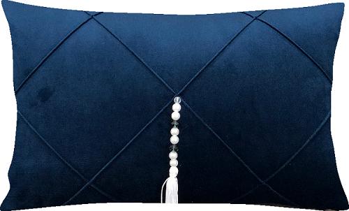 Capa de Almofada Retangular Drapeada Veludo Azul Marinho c/ Pingente
