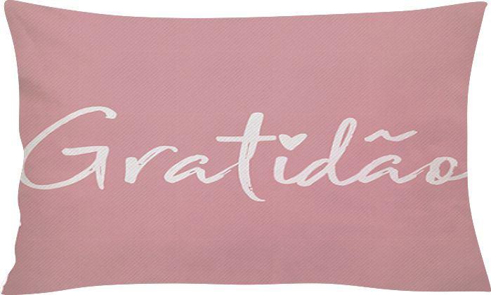Capa de Almofada Retangular Gratidão Rosa 25x45