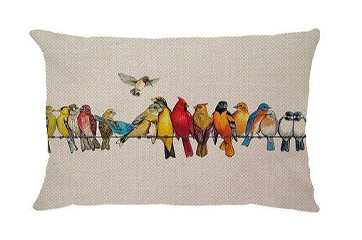 Capa de Almofada Retangular Linho Pássaros