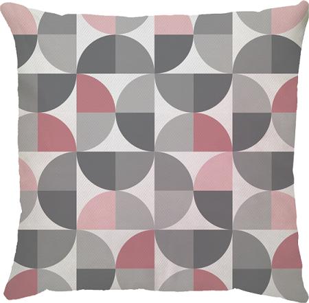 Capa de Almofada Semi Círculo Rosa Cinza 45x45