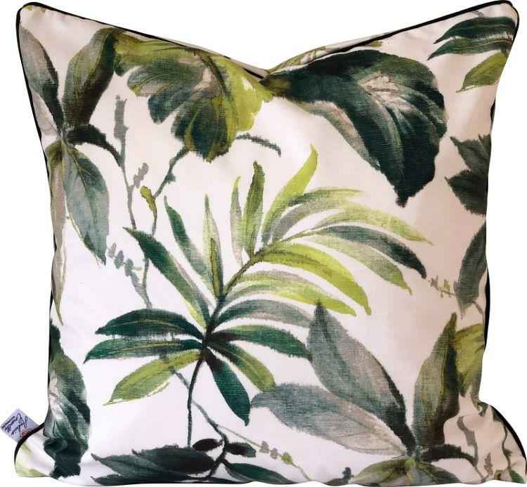 Capa de Almofada Suede Folhas Cordão Verde 55x55