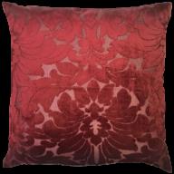 Capa de Almofada Veludo Floral Bordo
