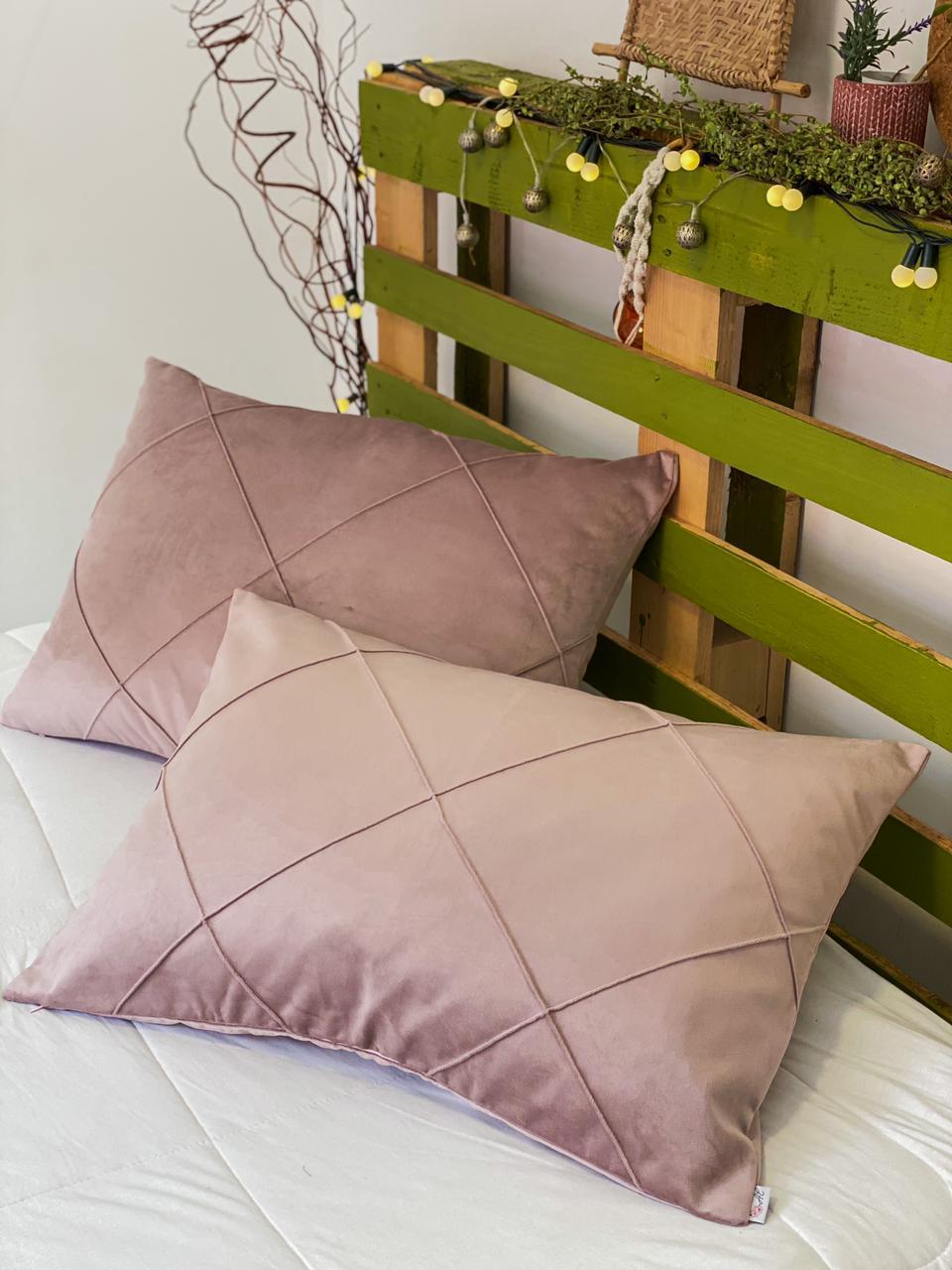 Jogo c/ 2 Porta Travesseiros Veludo Rosa Quartz