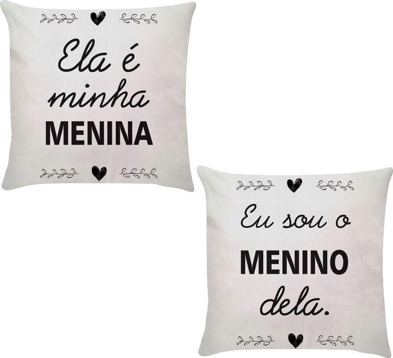 Kit 2 Capas de Almofadas Menino e Menina 45x45
