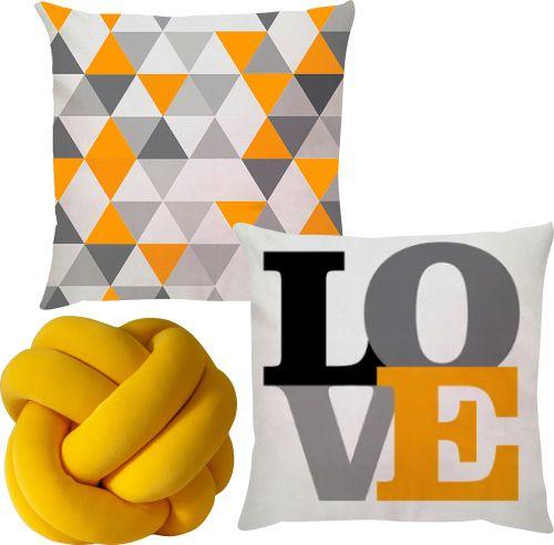 Kit 2 Capas de Almofadas + Nó Escandinavo Amarelo Love