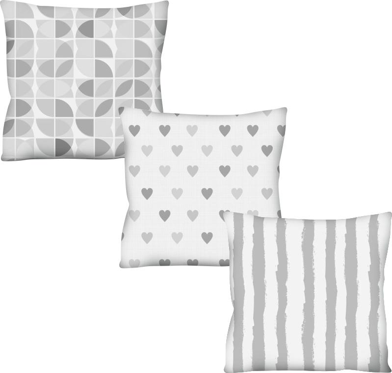 Kit 3 Capas de Almofadas Acetinadas Corações Cinza e Branco 50x50