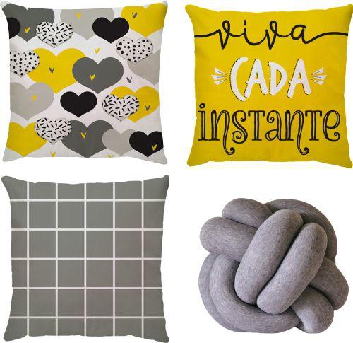 Kit 3 Capas de Almofadas Corações Amarelo + Nó Escandinavo Cinza Mescla