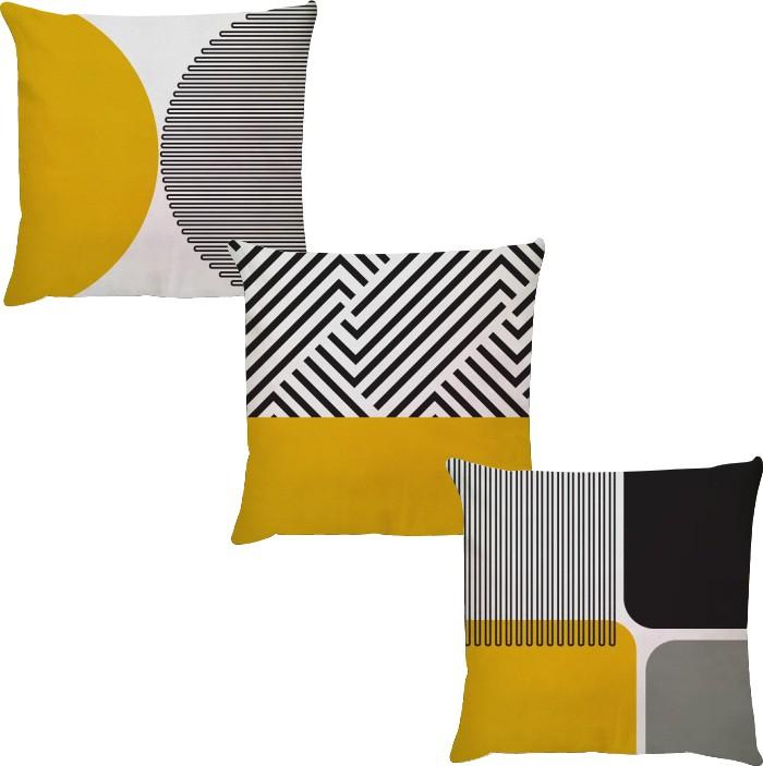 Kit 3 Capas de Almofadas Geométrico Amarelo e Preto 45x45