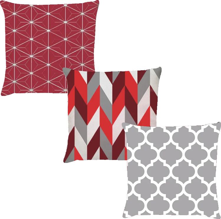 Kit 3 Capas de Almofadas Geométrico Vermelho e Cinza 45x45