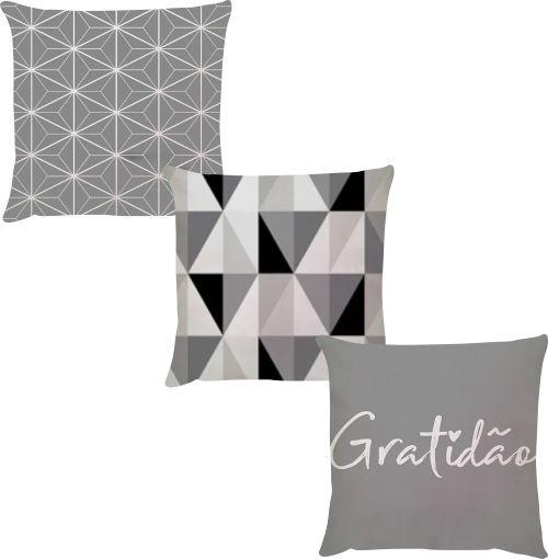 Kit 3 Capas de Almofadas Gratidão Cinza e Branco 45x45