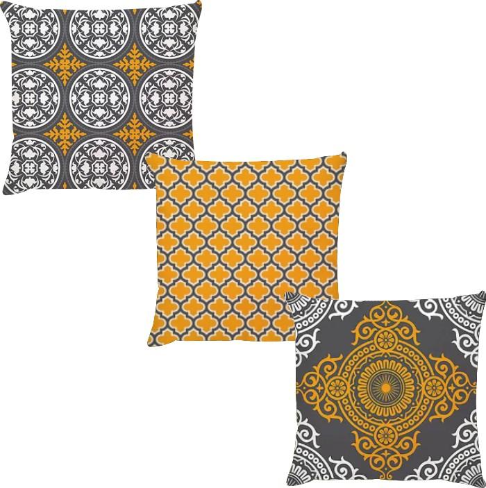 Kit 3 Capas de Almofadas Menhdi Cinza Escuro e Amarelo 45x45