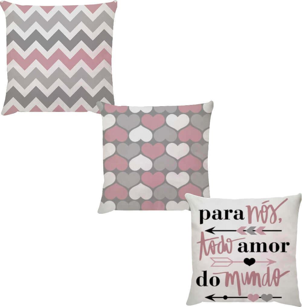 Kit 3 Capas de Almofadas Para Nós Todo Amor do Mundo Rosa 45x45