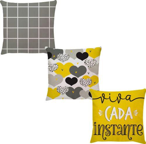 Kit 3 Capas de Almofadas Viva Cada Instante Amarelo 45x45