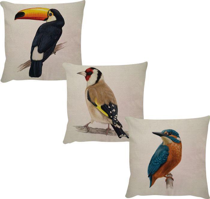 Kit 3 Capas de Almofadas Linho Aves