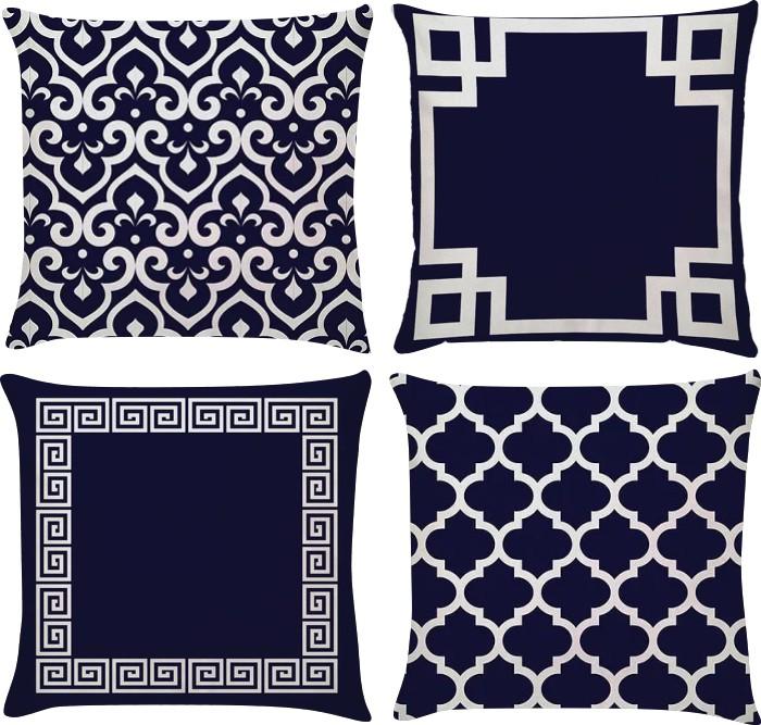 Kit 4 Capas de Almofada Flor de Lis Azul Marinho e Branco 45x45