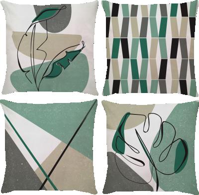 Kit 4 Capas de Almofadas Boho Verde 45x45