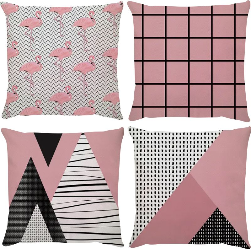 Kit 4 Capas de Almofadas Flamingo Filete Rosa e Preto 45x45