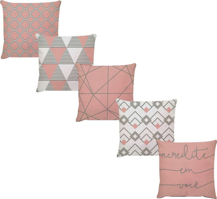 Kit 5 Capas de Almofadas Acredite Em Você Rosa Cinza