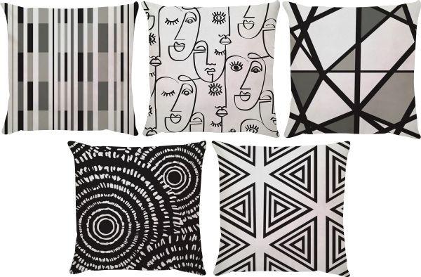 Kit 5 Capas de Almofadas Faces Preto e Branco 45x45