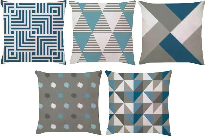Kit 5 Capas de Almofadas Geometrico Azul Cinza 45x45