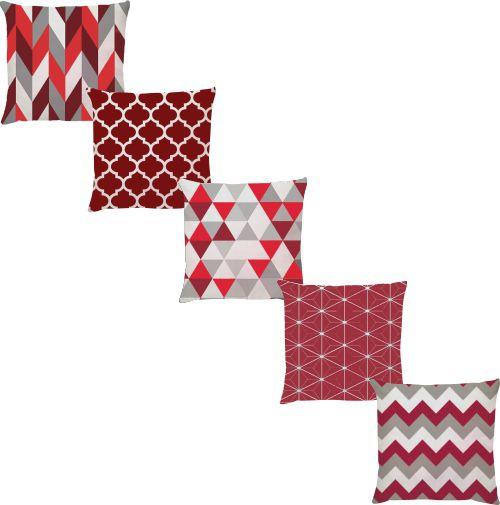 Kit 5 Capas de Almofadas Vermelho Bordo Geometrico