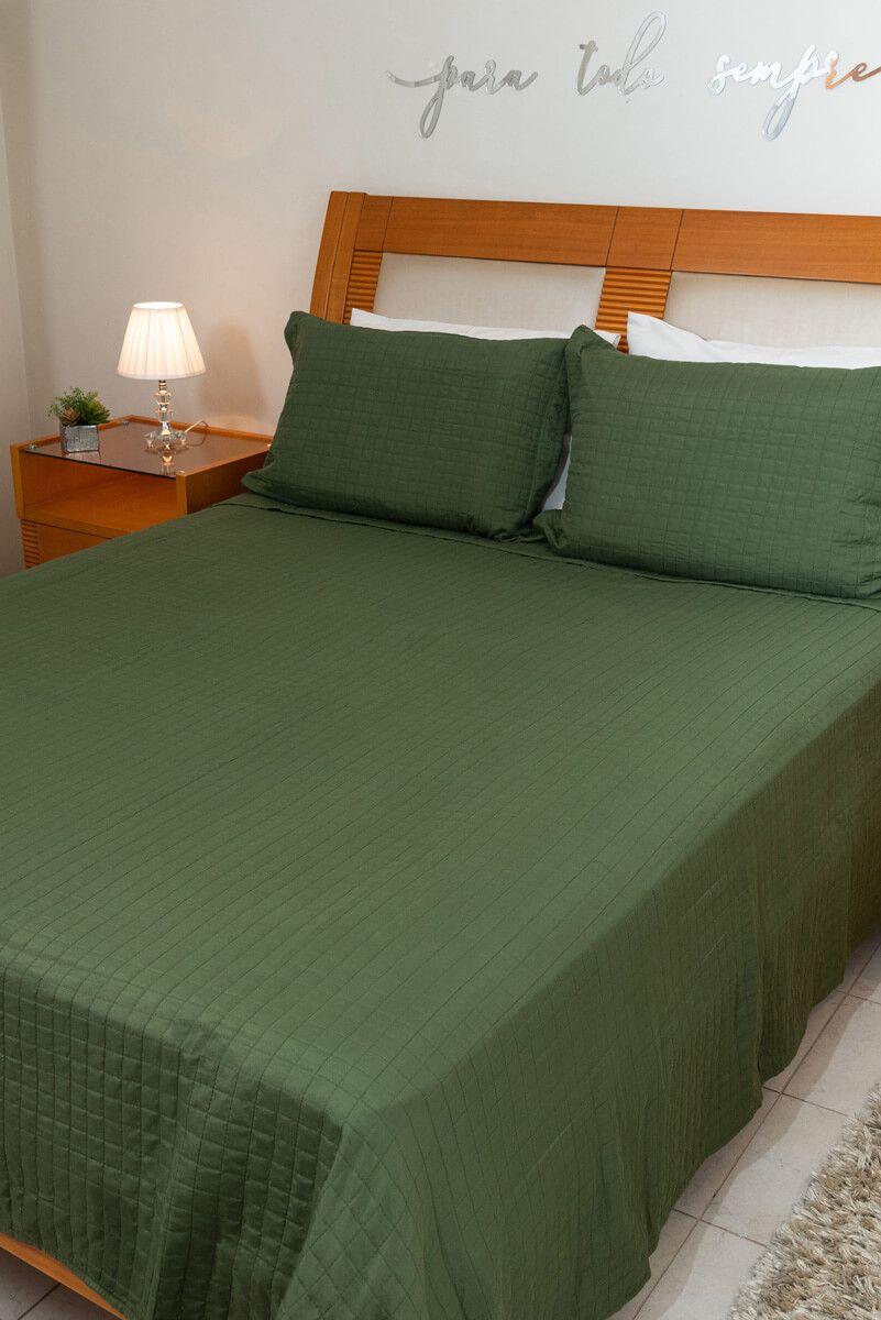 Kit Colcha Casal Pastilha Verde Militar 220x240