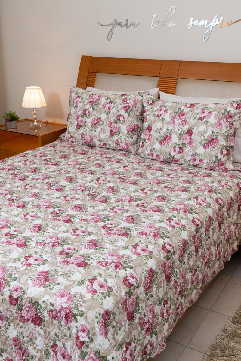 Kit Colcha Queen Dupla Face Floral Rosa Bege 240x260