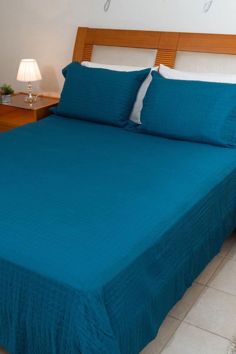 Kit Colcha Queen Pastilha Azul 240x260