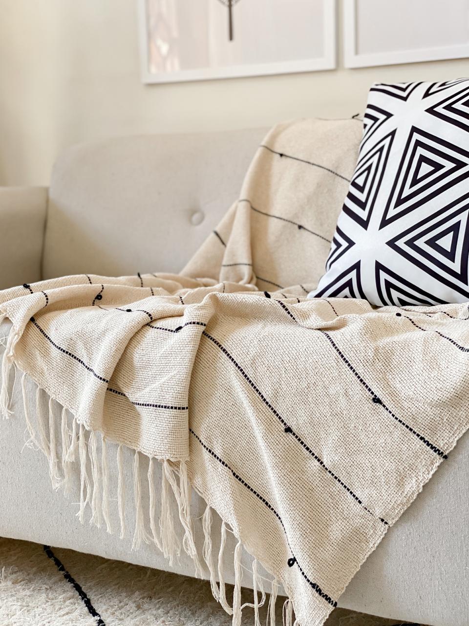 Manta Decorativa Algodão Lines Preto 120x180