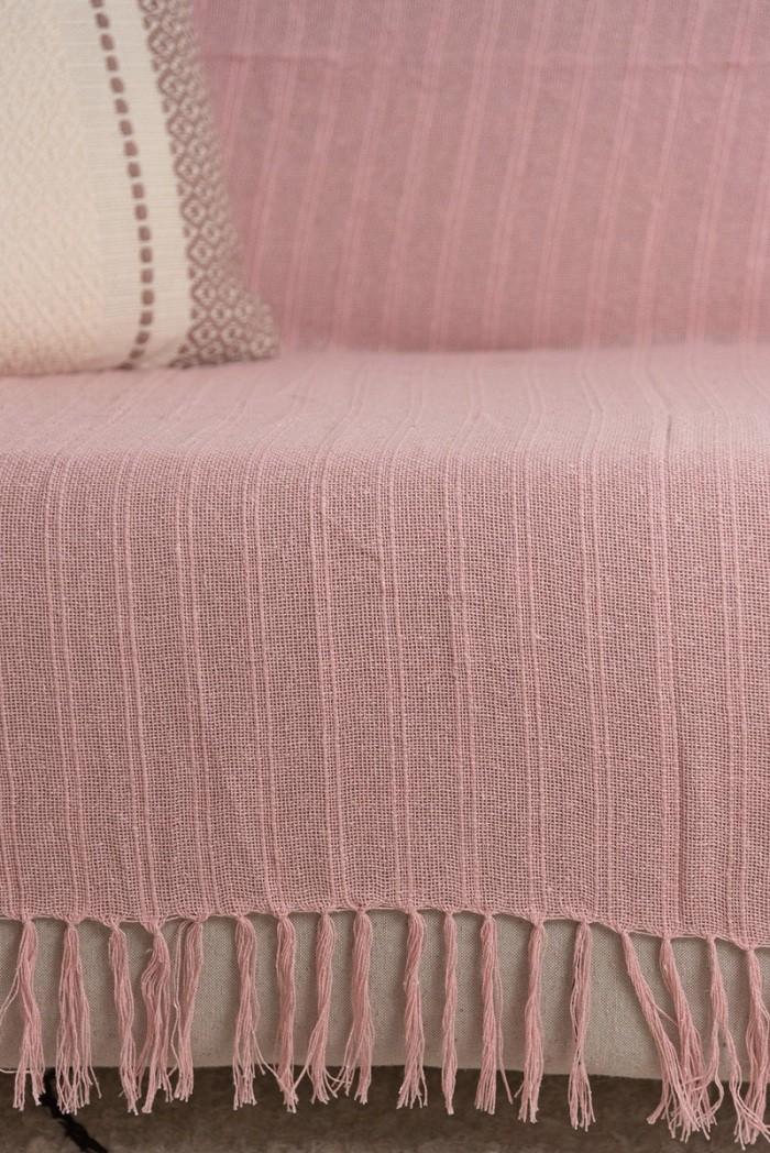 Manta Decorativa Algodão Lirio Rosa Bebê 120x180