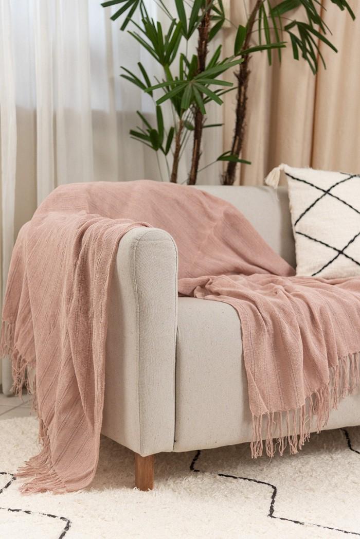 Manta Decorativa Algodão Lirio Rosa Seco 120x180