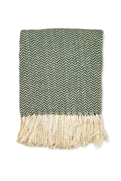 Manta Decorativa Algodão Marine Verde e Cru 120x180