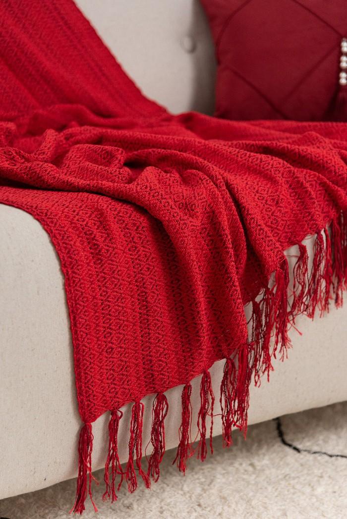 Manta Decorativa Algodão Orvalho Vermelho 120x180