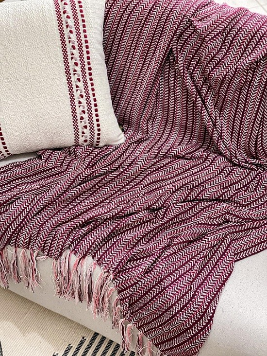 Manta Decorativa Algodão Plisse Marsala 120x180