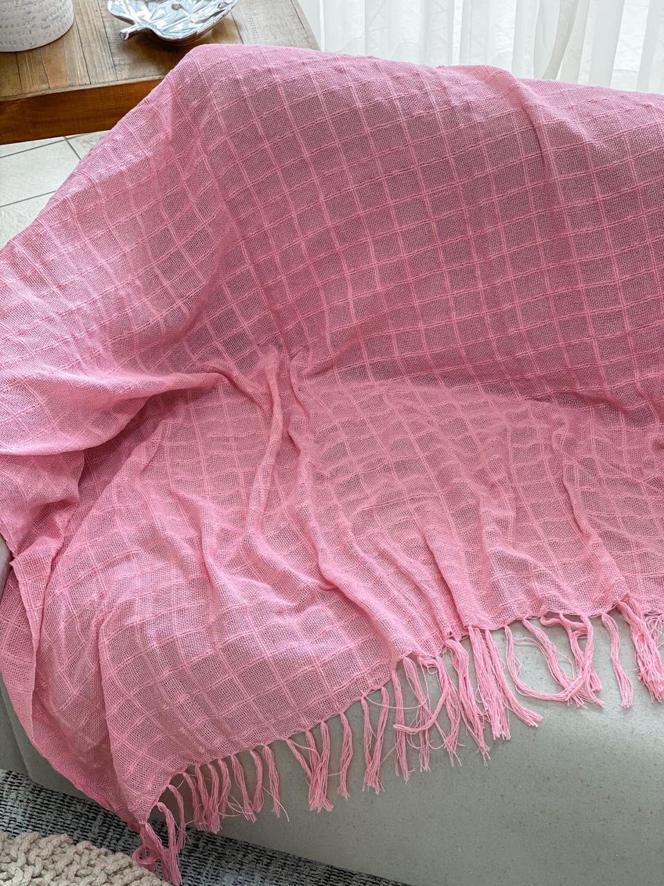 Manta Decorativa Algodão Rosa 120x180