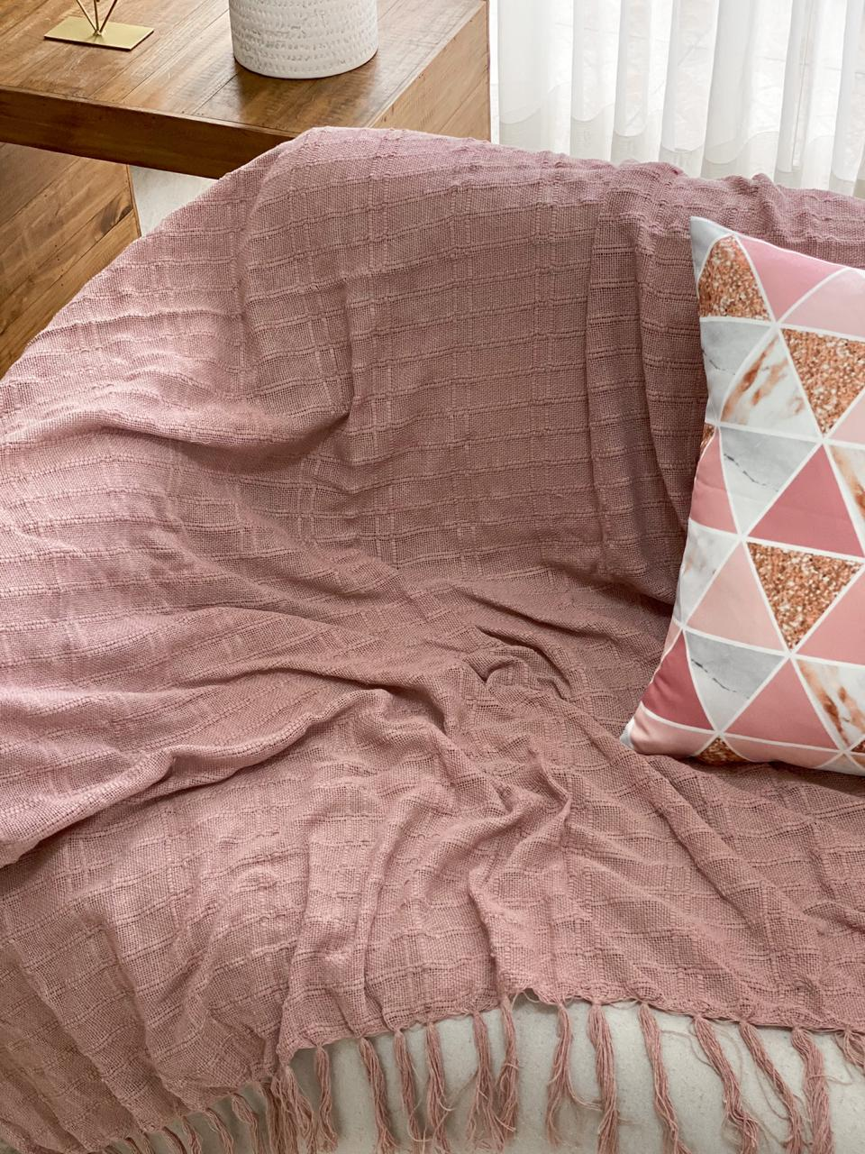 Manta Decorativa Algodão Rosa Antigo 140x180