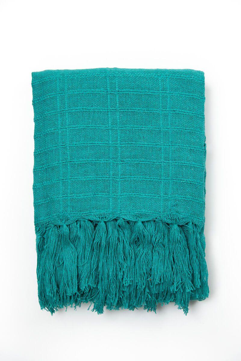 Manta Decorativa Algodão Verde Jade 120x180