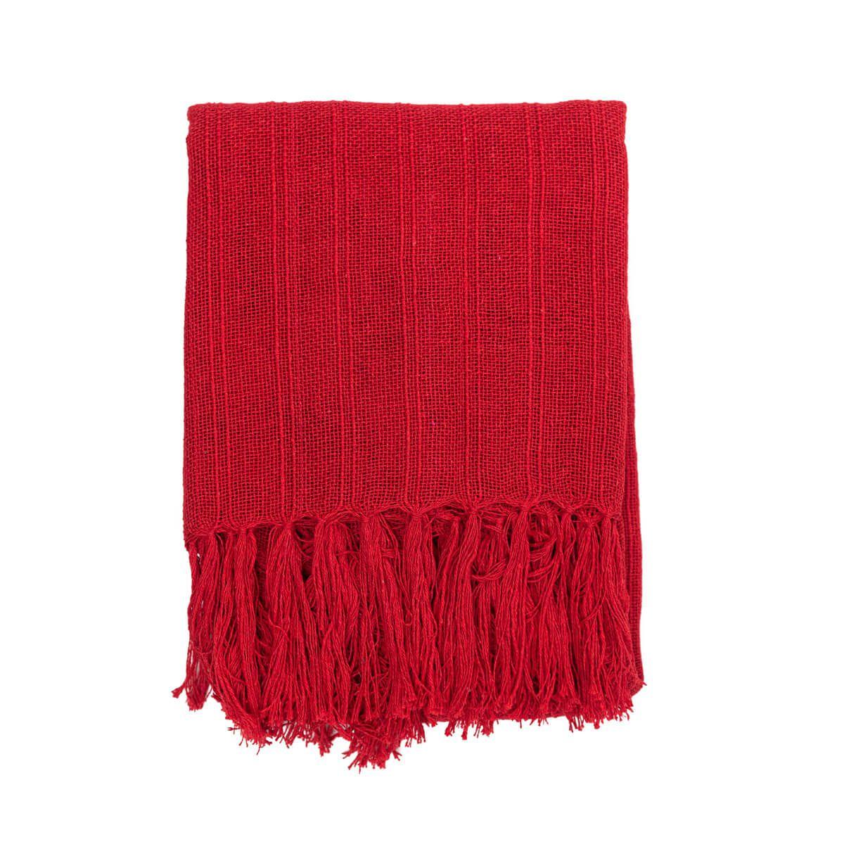 Manta Decorativa Algodão Vermelho 120x180